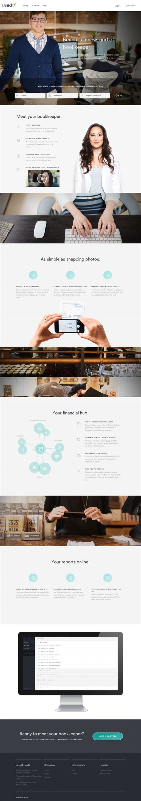 bench site design bench and the online bookkeepers webdesign inspiration