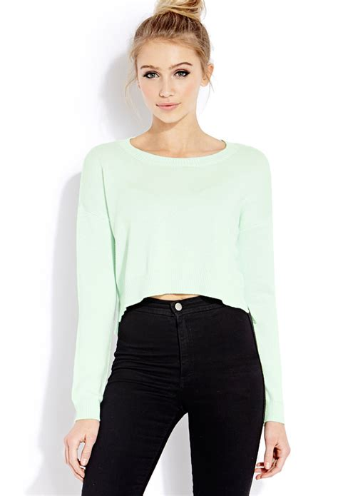cropped sweater forever 21 drop sleeve cropped sweater in green lyst
