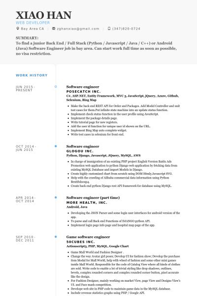 resume format for software engineer in usa ingeniero de software ejemplo de curr 237 culum base de