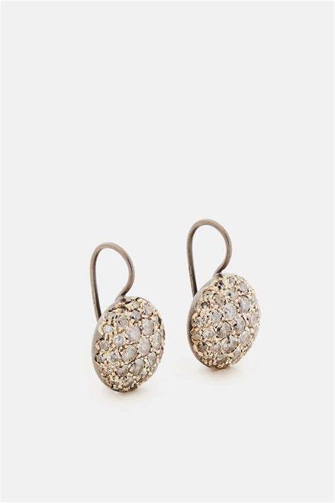 baby sand earrings white gold natur oxid the line