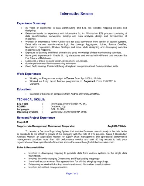 sle informatica etl developer resume pdf data warehousing tester resume sle