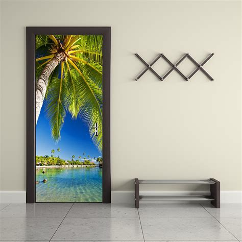 palm tree home decor funlife palm tree waterproof door sticker living room