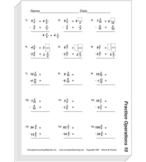 Fraction Operations Blackline Or Pdf Conceptual Learning