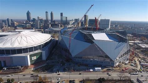 aerial views of mercedes stadium and the dome
