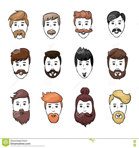 cartoon guy hairstyles hairstyles beard and hair face cut young man doodle