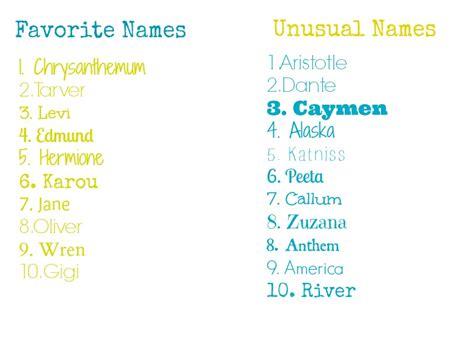 uncommon names top ten tuesday top ten favorite character names book bake