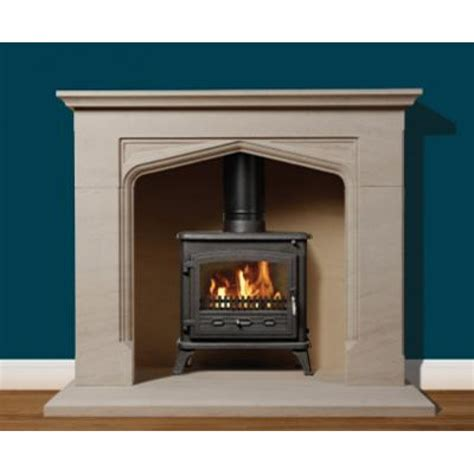 On Fireplace by Priory Portuguese Limestone Fireplace
