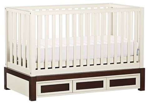 Fixed Gate Crib by Skylar Fixed Gate Crib Simply White And Sun Valley Espresso Cribs By Pottery