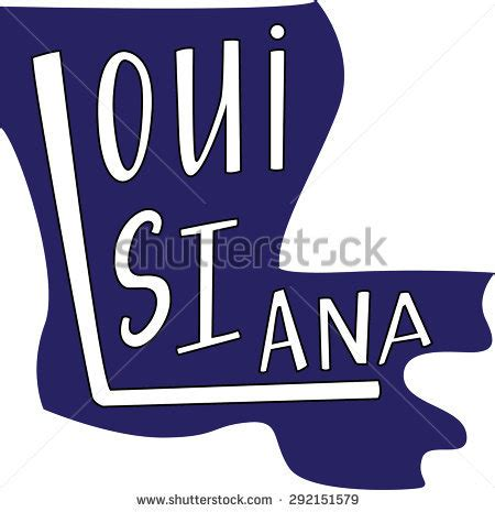 louisiana state outline hand lettering stock vector