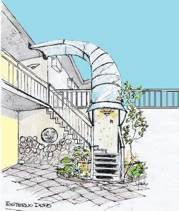 tettoia esterna pensilina per scala esterna