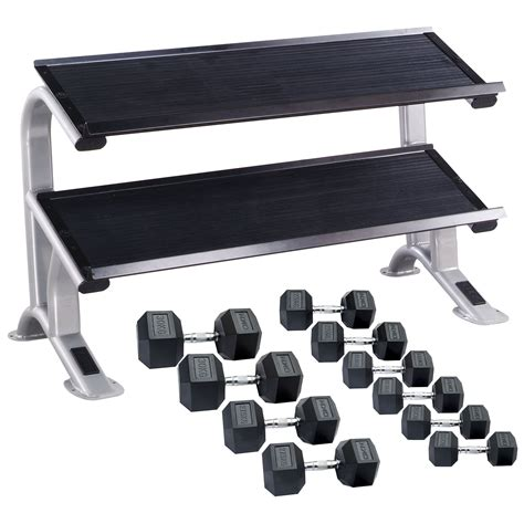 dkn 20kg to 30kg rubber hex dumbbell set with storage rack