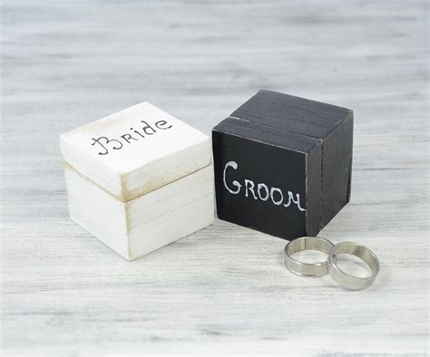 white and black wedding ring bearer boxes engagement ring