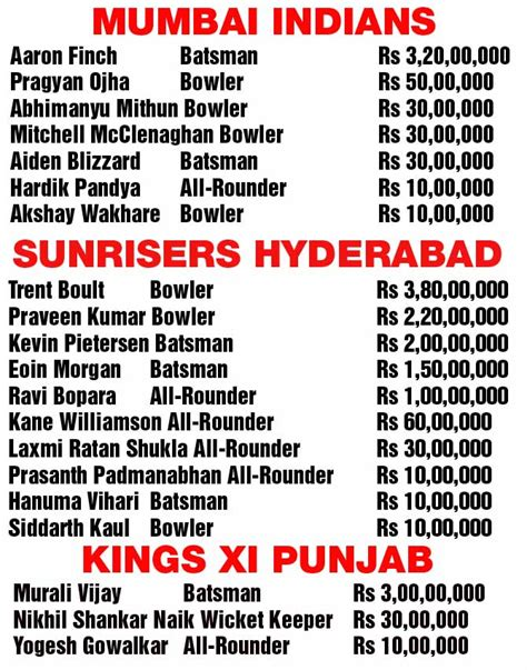 ipl lis 2015 ipl 8 auction full list of cricketers who got bought and