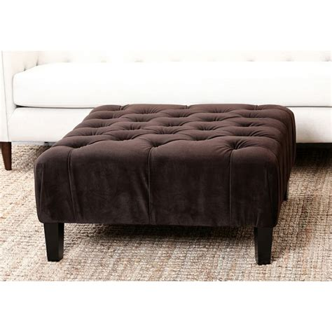 overstock tufted ottoman abbyson living florence dark brown square tufted ottoman