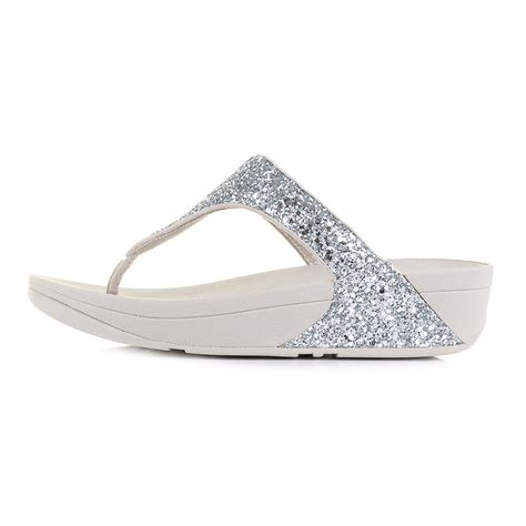 silver low wedge sandals womens fitflop glitterball silver low wedge flip flop