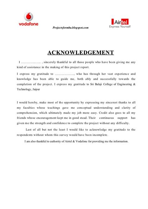 Acknowledgement Letter For Project A Project Report On Comparative Analysis Of Marketing Strategies Of V