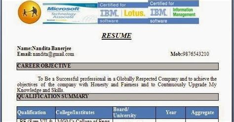 Job Resume Pattern by Fresher Resume Format