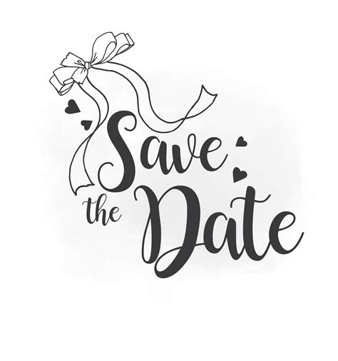 Save The Date Svg Clipart Wedding Annuncment Save The Date Vector Wedding Bow Printable Black And White Save The Date Templates