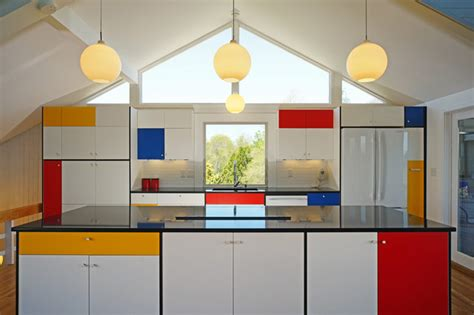 Kitchen Cabinets Lighting Inspiration By Mondrian Midcentury Kitchen Boston
