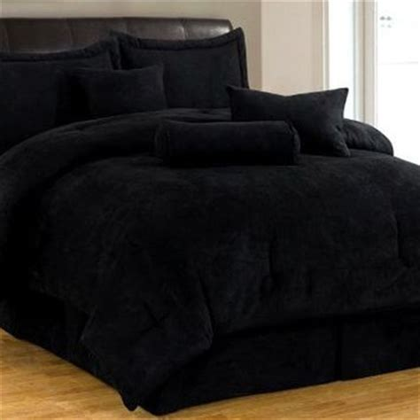 black bed set 7 solid black micro suede comforter from