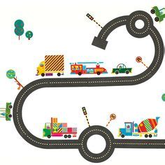 stickers enfant circuit voiture trappeur multicolore wall stickers stickers and roads