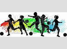 Kids Boys and Girls Soccer Silhouettes - Clipart 4 Mascots ... Girl Soccer Silhouette Clip Art