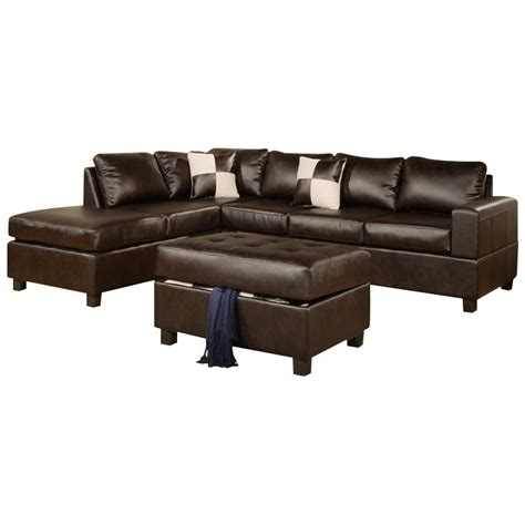 3 piece leather sectional poundex bobkona 3 piece leather sectional in espresso f7351