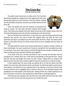 fifth grade reading comprehension worksheet crazy bus