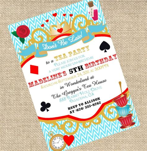 wonderful alice in wonderland birthday party invitations