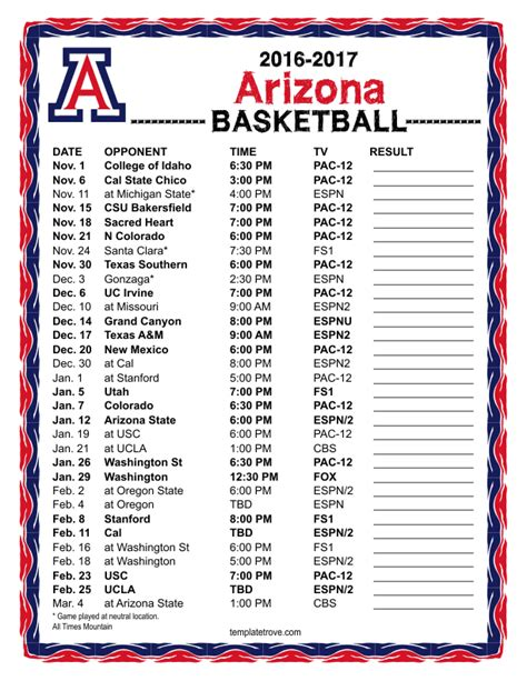 basketball schedule card template printable 2017 2018 florida gators basketball schedule