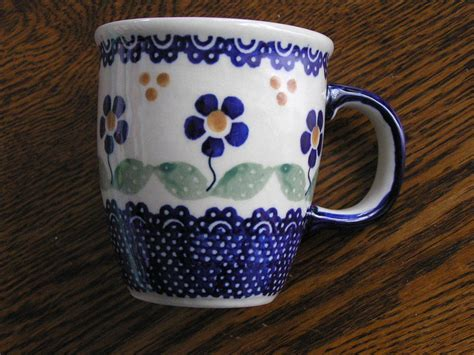 Handmade In Poland Pottery - made in poland pottery 10 oz mug w multi