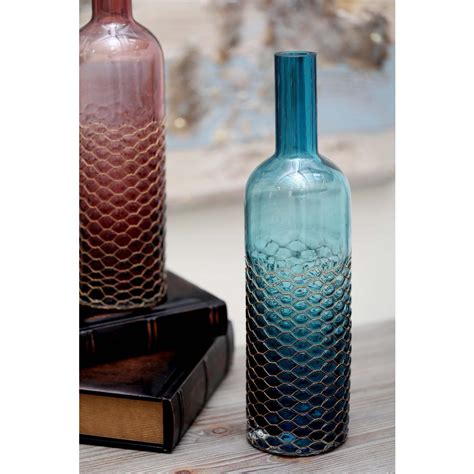 decorative glass home depot 17 in honeycomb glass decorative bottle in teal 53076