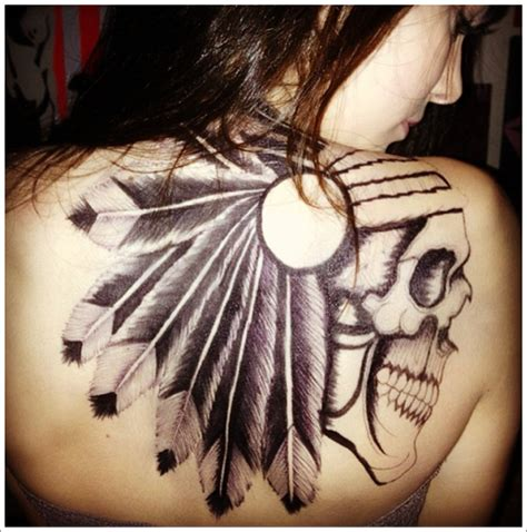 native american skull tattoos awesome grey ink american skull with feathers