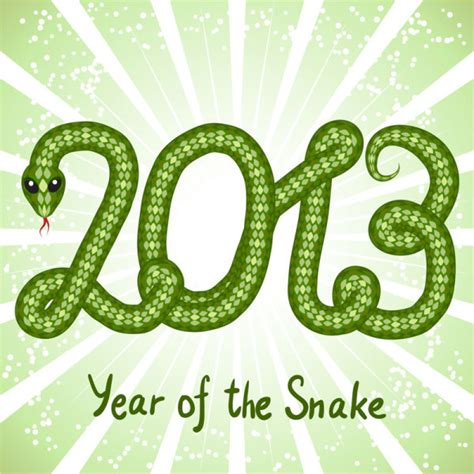 new year 1977 snake element shiny green 2013 snake year design elements 04 vector