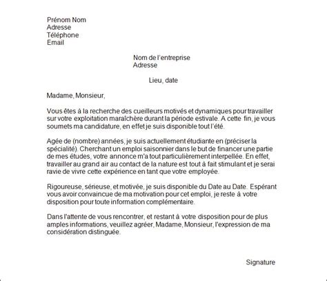 Lettre De Motivation Pour Visa En Cover Letter Exle Exemple De Lettre De Motivation Travail