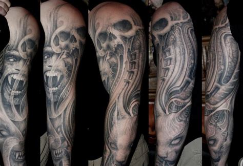evil half sleeve tattoo designs evil sleeve by paul booth design of