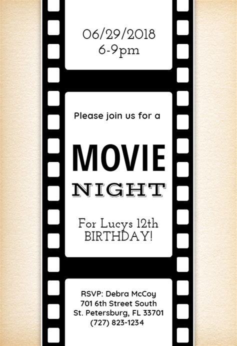 Movie Night Birthday Invitation Template Free Greetings Island Nights Invitation Template