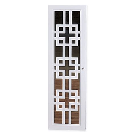 modern white jewelry armoire modern jewelry armoire with decorative mirror in white