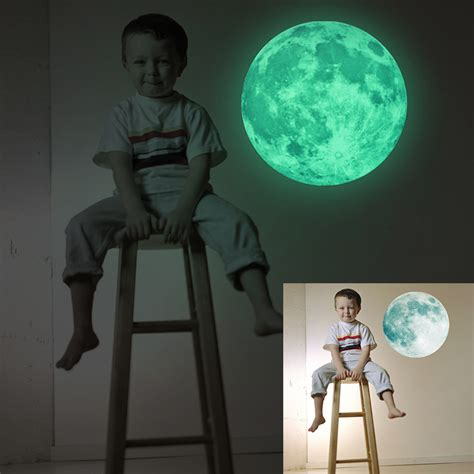 Removable Diy Wall Stickers Intl 30cm moon glow in the luminous diy removable wall