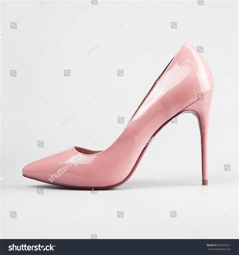 pair pink womens heel shoes stock photo 463497221