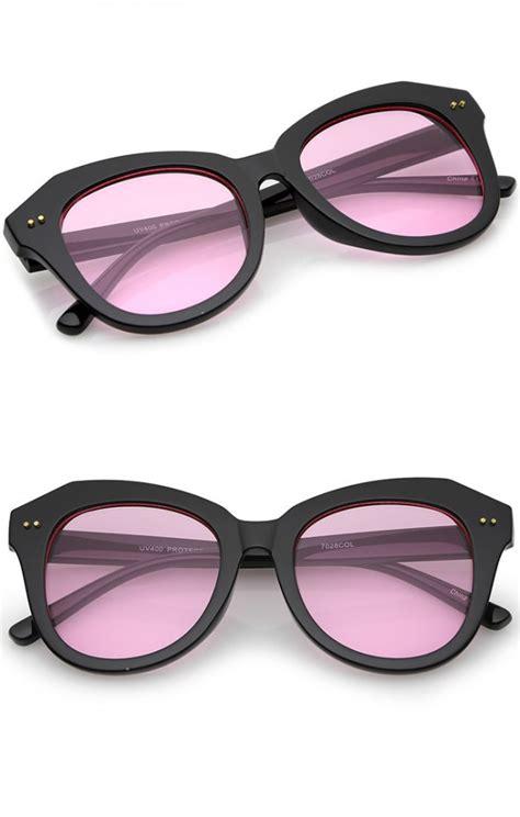 Colored Lens Cat Eye Sunglasses s oversize horn rimmed colored lens cat eye