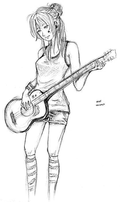 Draw girl playing guitar | d r a w | Pinterest | Playing
