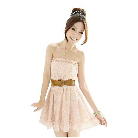 light salmon pink strapless mini lace dress xs w