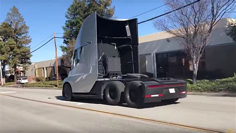 tesla truck silver tesla semi spotted doing a tire shredding
