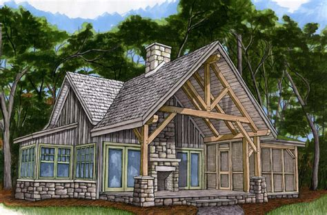 small timber frame homes plans piney creek cottage fireplace screens screened porches