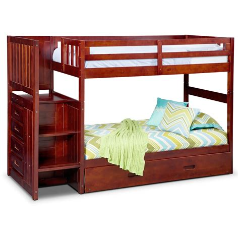 Bunk Beds Storage Ranger Bunk Bed With Storage Stairs And Trundle Merlot American Signature