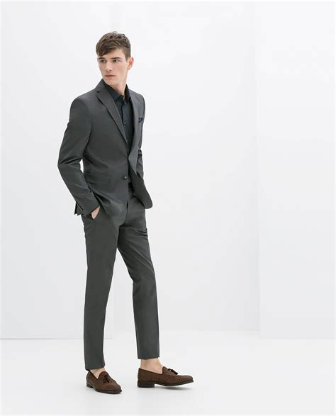 Striped Suit Blazer zara discontinuous striped suit blazer in gray for lyst