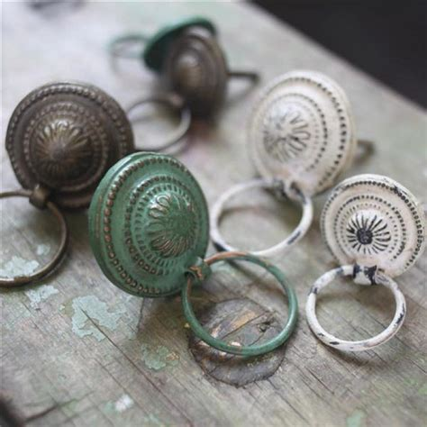 vintage chic metal drawer pulls green brass white door