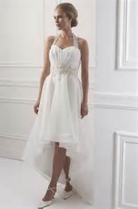 asymmetrical hem lace appliques haler wedding dress