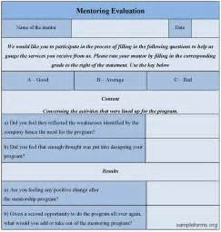 mentoring application templates mentoring evaluation form sle mentoring evaluation